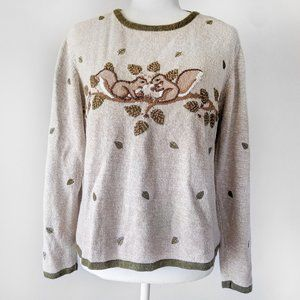 Christopher & Banks Embroidered Squirrel Sweater